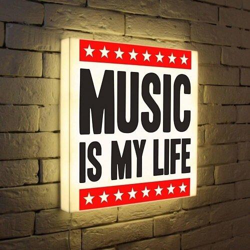 Светящаяся уличная вывеска Music is my life