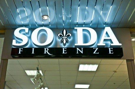 Вывеска с подсветкой SODA